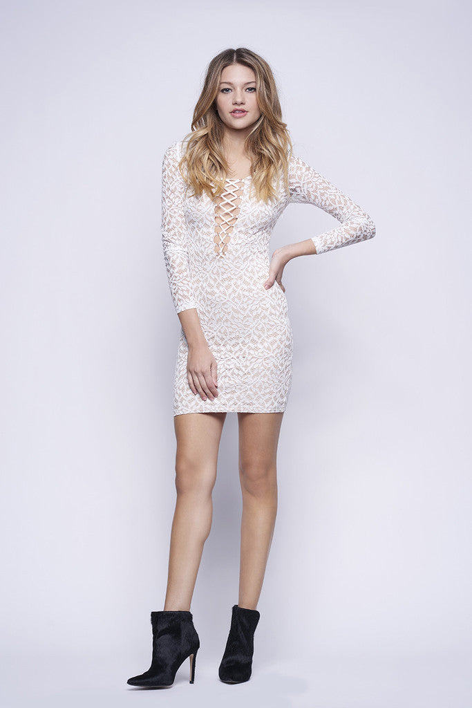 WYLDR In Too Deep Ivory Lace Bodycon Dress White - DRESSES - WYLDR - Free Vibrationz - 2