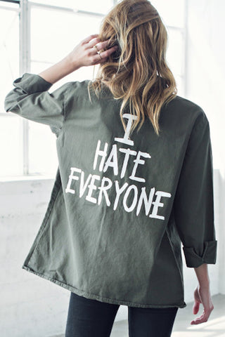 Jac Vanek I Hate Everyone Army Jacket - OUTERWEAR - JAC VANEK - Free Vibrationz - 1