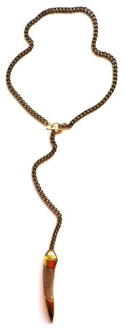 Lena Bernard Gold Tip Horn Necklace- ACCESSORIES-LENA BERNARD-Free Vibrationz