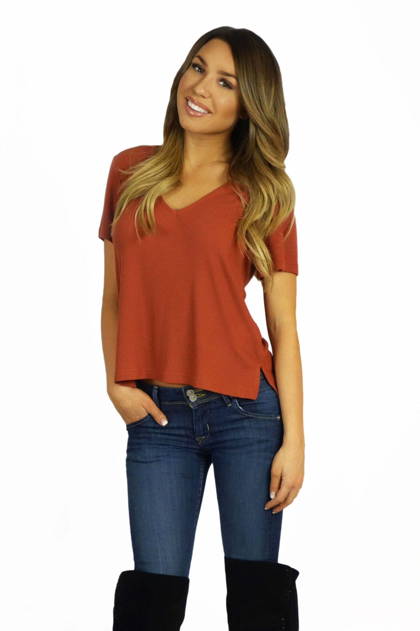 MinkPink Wild And Free V-Neck Tee- TOPS-Mink Pink-Free Vibrationz