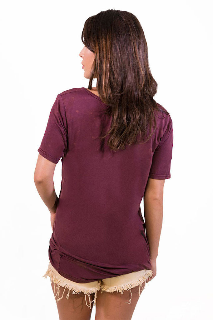 POL Lazy Pocket Tee - Burgundy - TOPS - POL - Free Vibrationz - 4