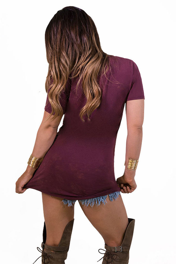 POL Lazy Pocket Tee - Burgundy - TOPS - POL - Free Vibrationz - 5
