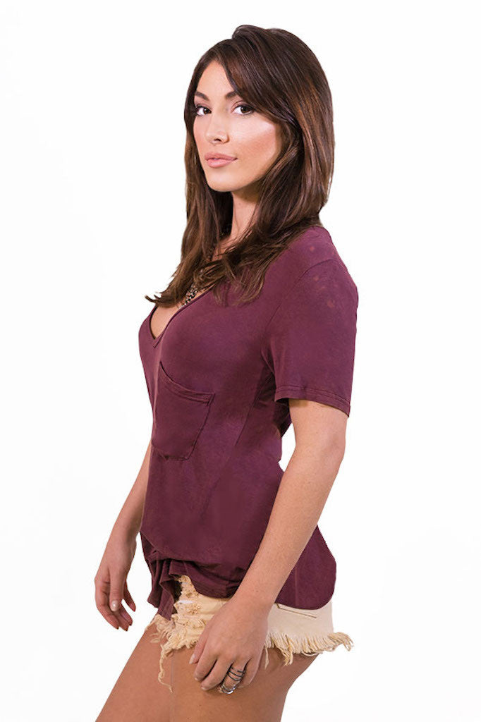 POL Lazy Pocket Tee - Burgundy - TOPS - POL - Free Vibrationz - 3