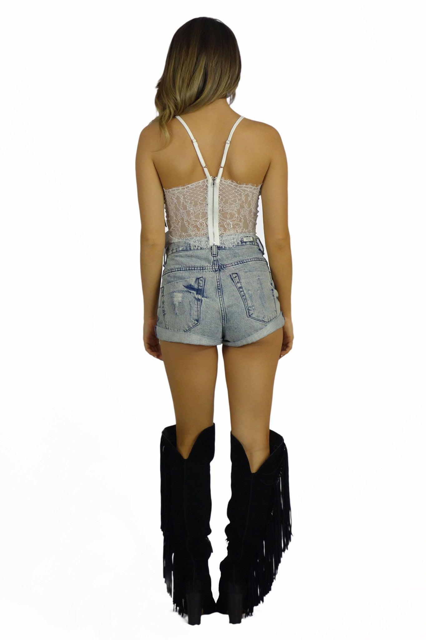 Rehab Crop Top With Lace Back - TOPS - REHAB - Free Vibrationz - 3