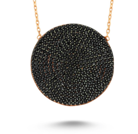 Amorium Black Circle Disk Necklace in Rose Gold- ACCESSORIES-Amorium-Free Vibrationz