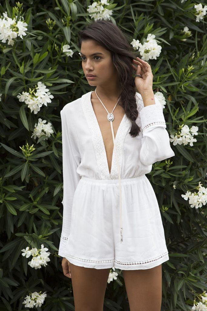 Somedays Lovin Nadin Lace Plunging Playsuit Cream - ONSIES - SOMEDAYS LOVIN - Free Vibrationz - 1