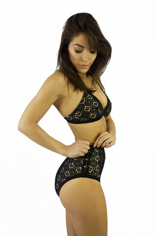 Somedays Lovin Lighthouse Black Lace Bikini Bottoms - SWIMWEAR - SOMEDAYS LOVIN - Free Vibrationz - 1