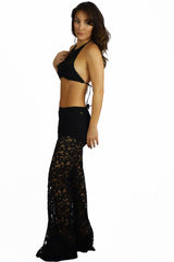 Vintage Havana Black Stretch Crochet Bell Bottom Pants - BOTTOMS - VINTAGE HAVANA - Free Vibrationz - 2