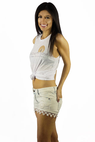 Vintage Havana Light Wash Crochet Trim Denim Shorts - BOTTOMS - VINTAGE HAVANA - Free Vibrationz - 1