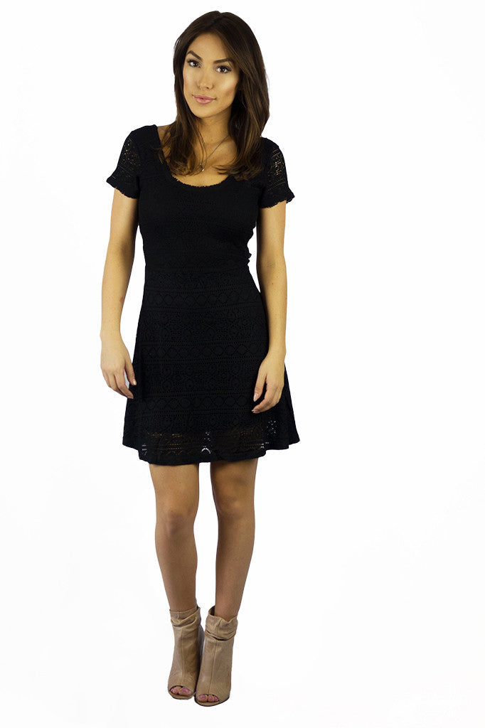 Vintage Havana Black Crochet Tie Back Dress - DRESSES - VINTAGE HAVANA - Free Vibrationz - 3