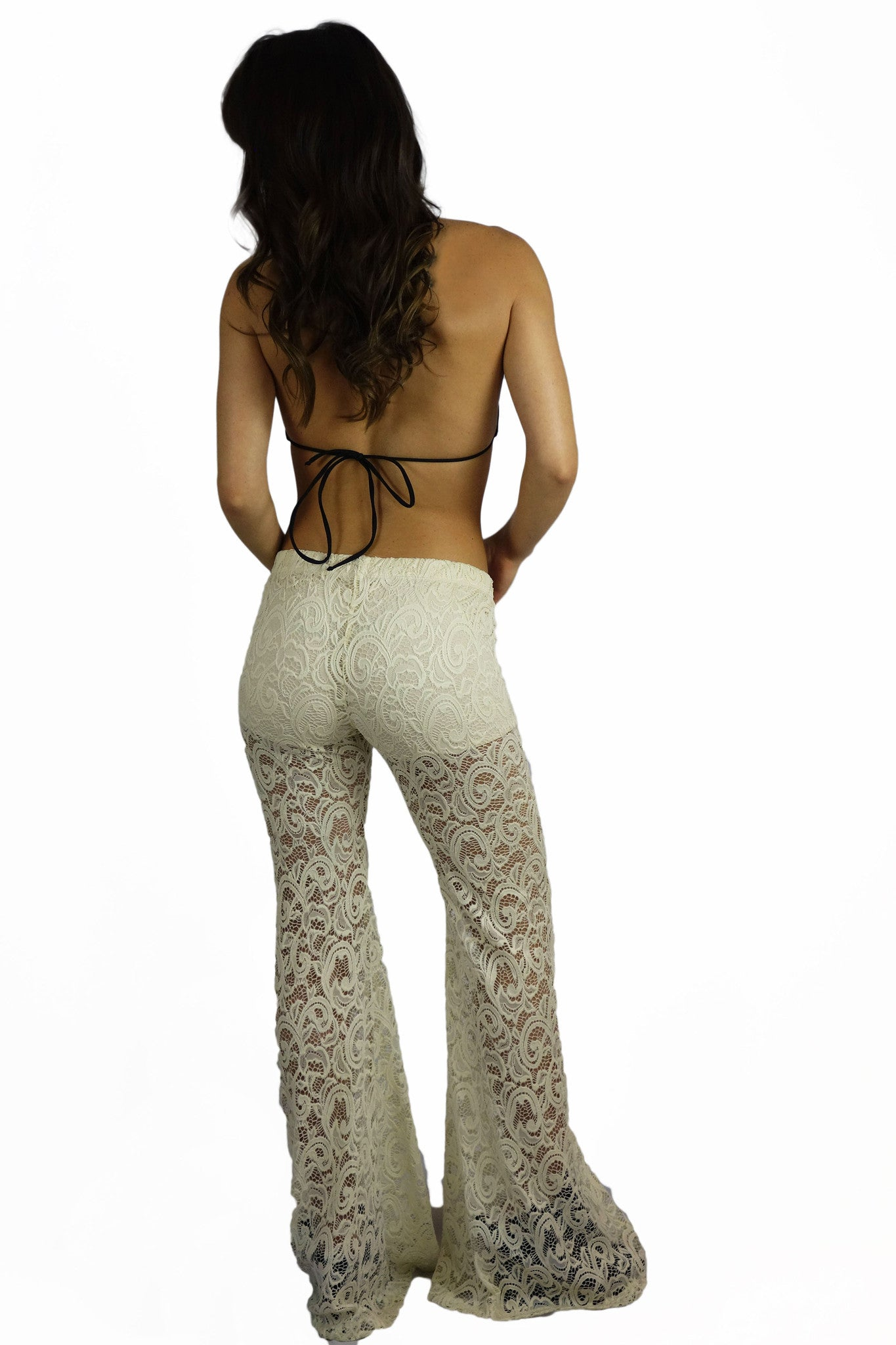 Vintage Havana Ivory Stretch Crochet Bell Bottom Pants - BOTTOMS - VINTAGE HAVANA - Free Vibrationz - 3