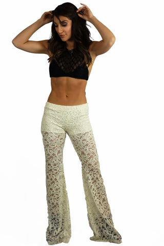 Vintage Havana Ivory Stretch Crochet Bell Bottom Pants - BOTTOMS - VINTAGE HAVANA - Free Vibrationz - 1
