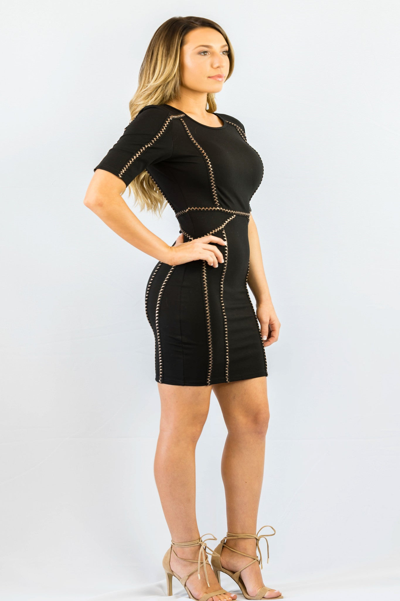 WYLDR Ballin Black Jersey Bodycon Dress With Trim Detail - DRESSES - WYLDR - Free Vibrationz - 4