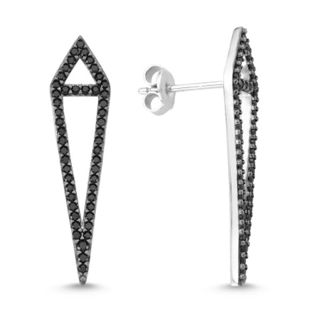 Amorium Black Sterling Silver Aria Earring- ACCESSORIES-Amorium-Free Vibrationz