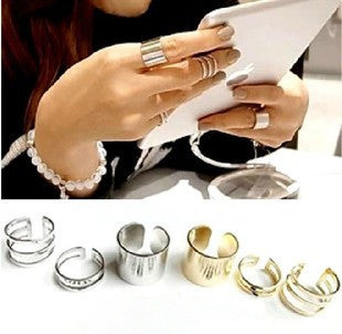 Chunky Silver Ring Set- ACCESSORIES-Free Vibrationz-Free Vibrationz