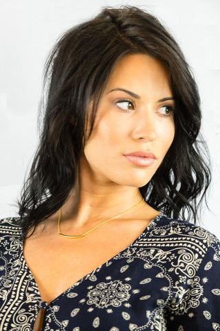 Gold Tube Necklace- ACCESSORIES-Free Vibrationz-Free Vibrationz