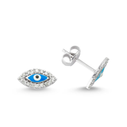 Amorium Light Blue Evil Eye Studs in Silver- ACCESSORIES-Amorium-Free Vibrationz