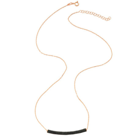 Amorium Rose Gold and Black Tube Necklace- ACCESSORIES-Amorium-Free Vibrationz