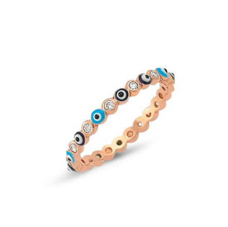 Amorium Rose Gold Plated Sterling Silver Evil Eye Ring- ACCESSORIES-Amorium-Free Vibrationz