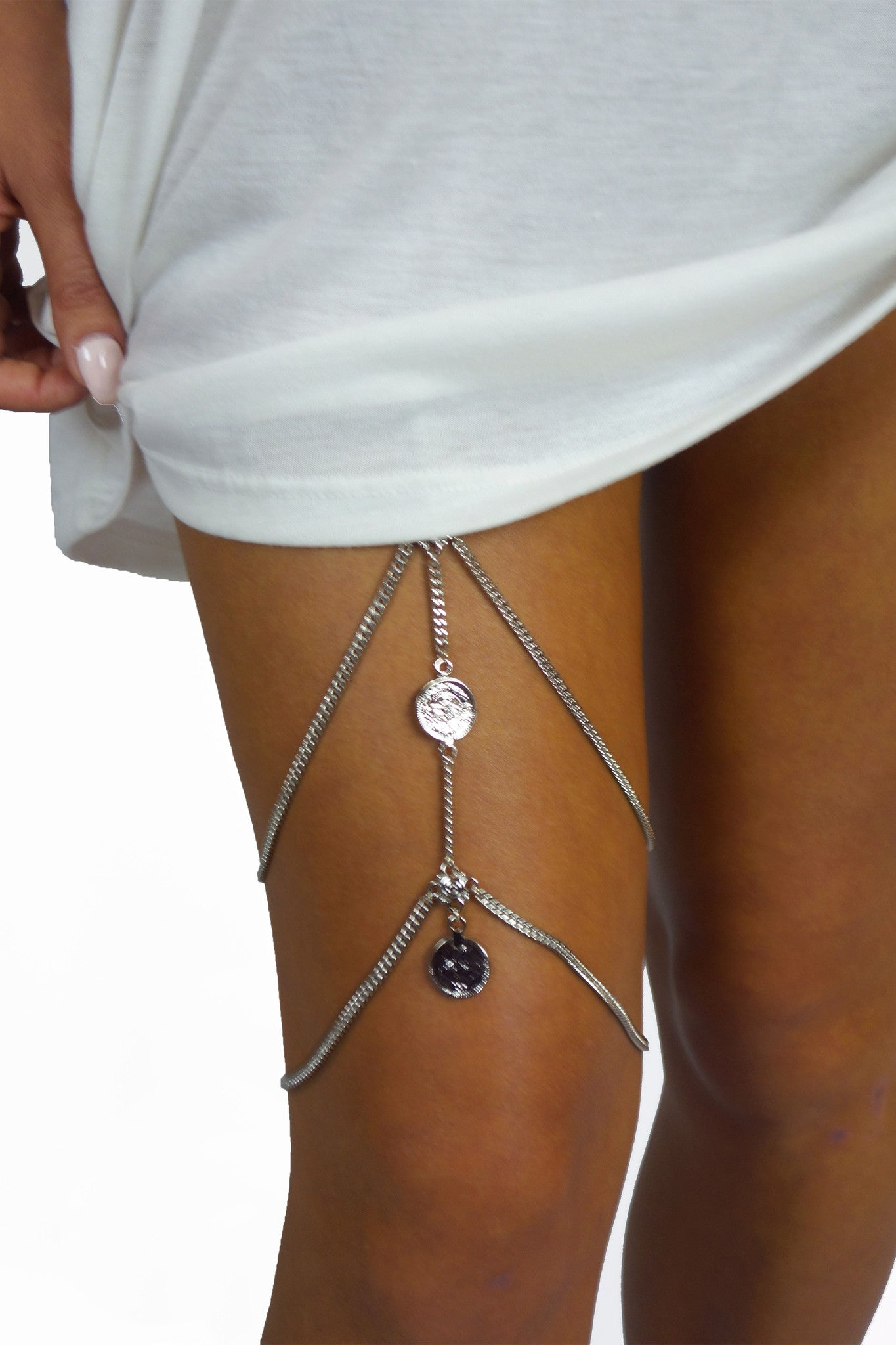 Grace Bijoux Niskha Leg Chain Silver- ACCESSORIES-GRACE BIJOUX-Free Vibrationz