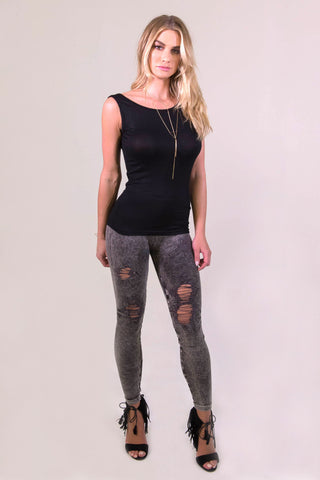 NikiBiki Vintage Ripped Leggings - Charcoal - BOTTOMS - NIKIBIKI - Free Vibrationz - 1