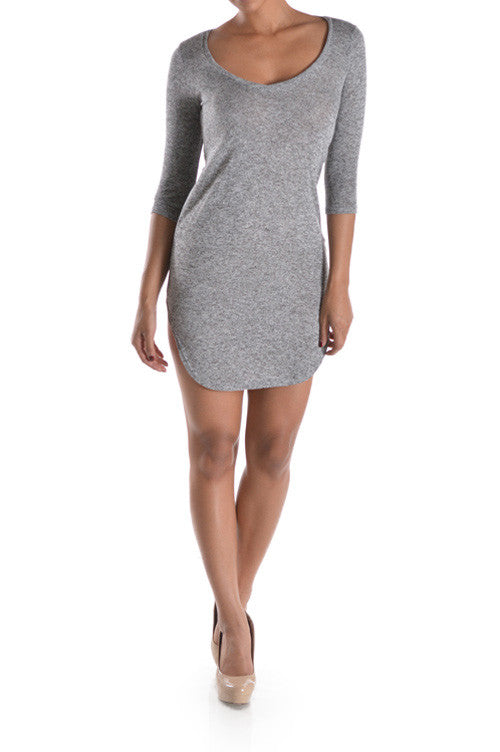 High Slit Mini Dress Grey- DRESSES-May Pink-Free Vibrationz