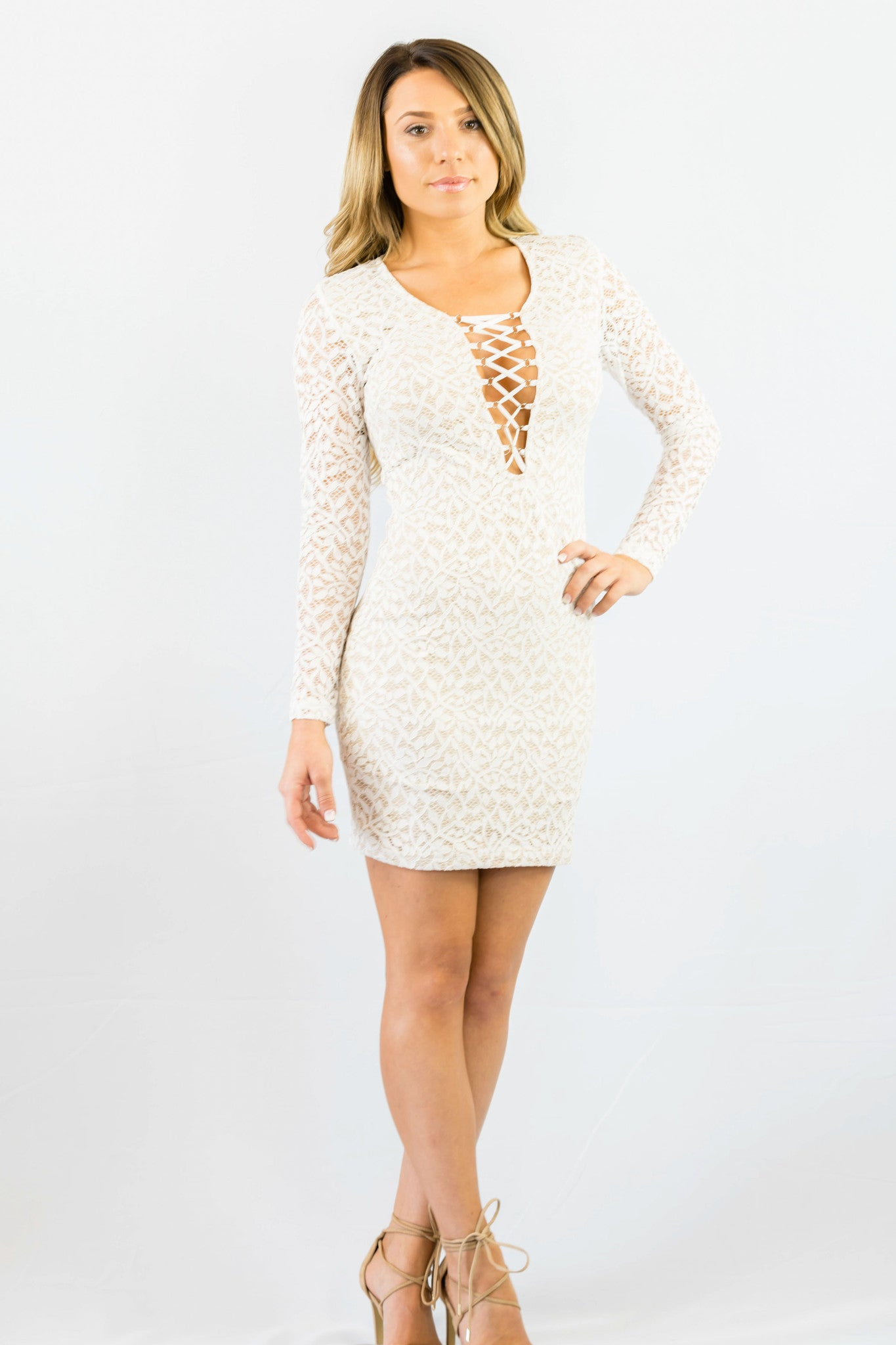 WYLDR In Too Deep Ivory Lace Bodycon Dress White - DRESSES - WYLDR - Free Vibrationz - 1