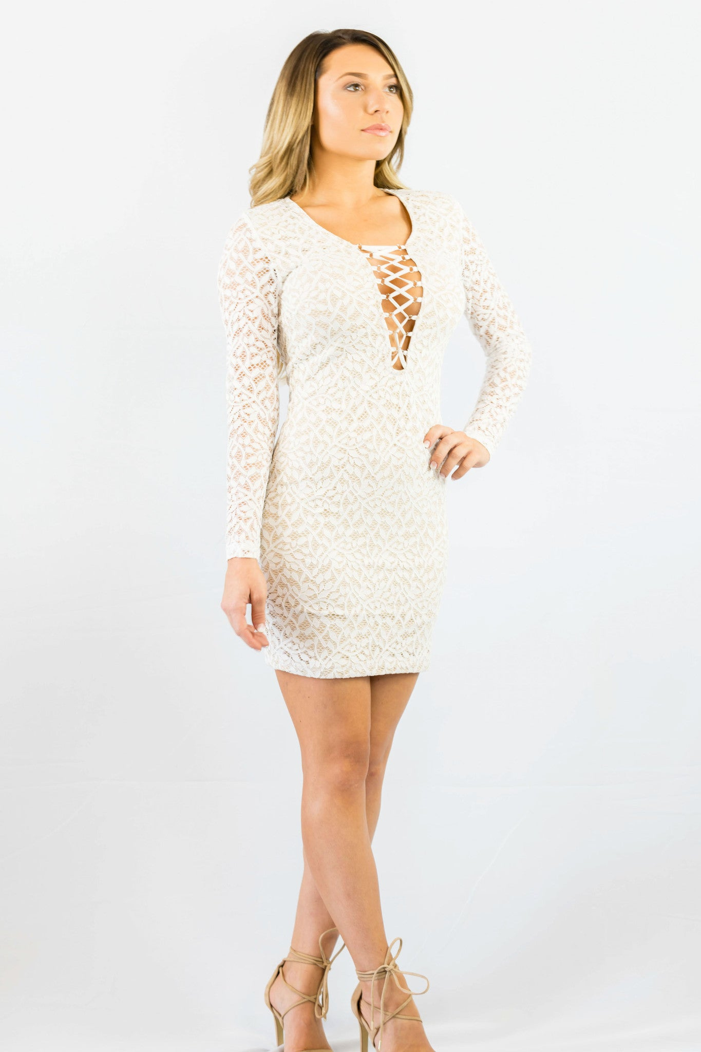 WYLDR In Too Deep Ivory Lace Bodycon Dress White - DRESSES - WYLDR - Free Vibrationz - 4