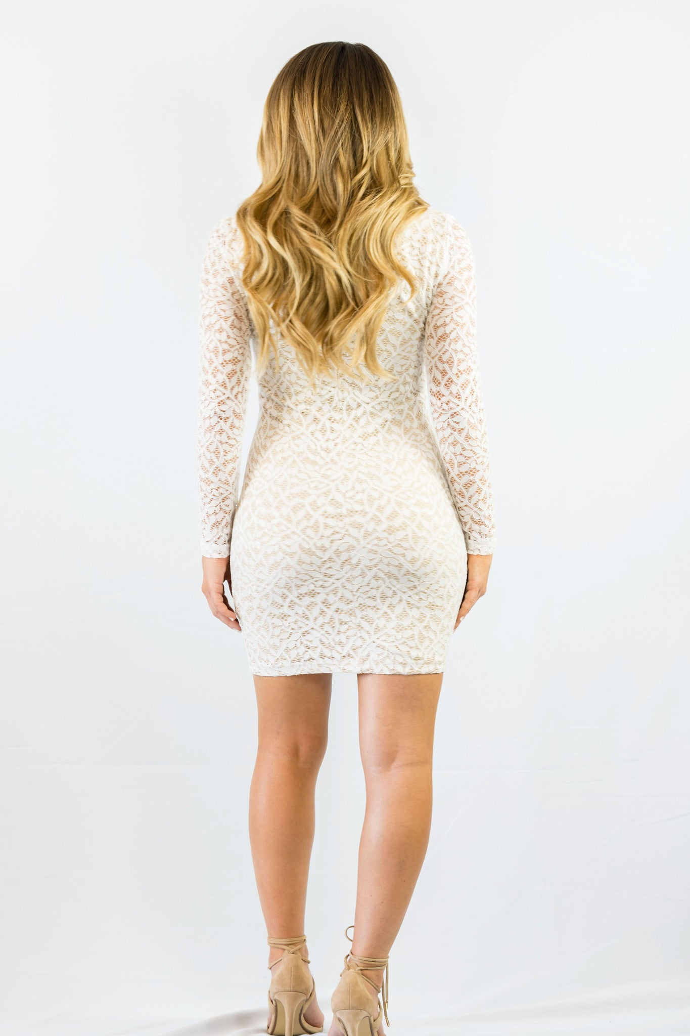 WYLDR In Too Deep Ivory Lace Bodycon Dress White - DRESSES - WYLDR - Free Vibrationz - 5