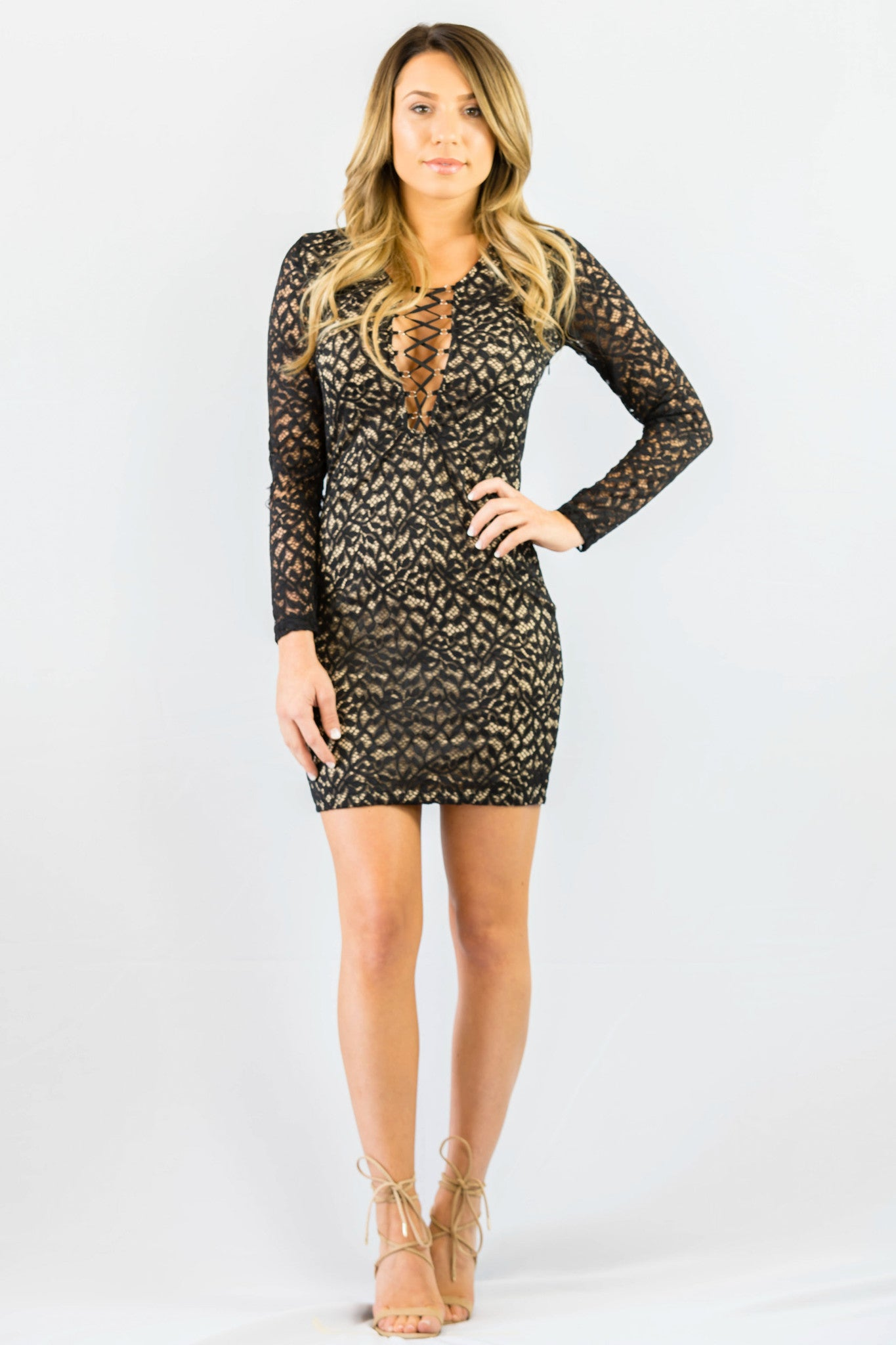 WYLDR In Too Deep Lace Black Body Con Dress - DRESSES - WYLDR - Free Vibrationz - 3