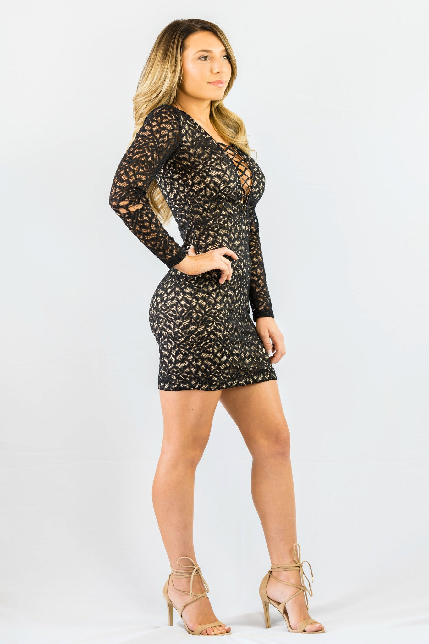 WYLDR In Too Deep Lace Black Body Con Dress - DRESSES - WYLDR - Free Vibrationz - 4