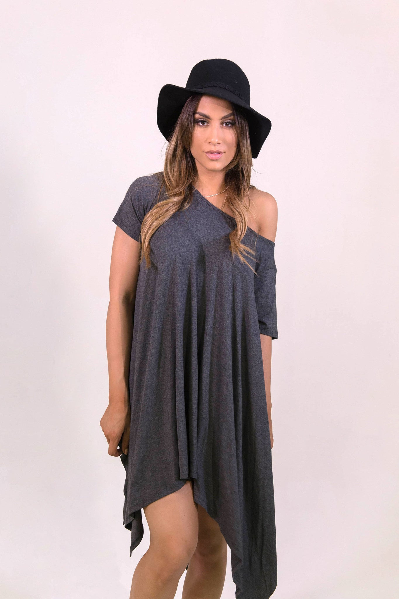 Up and Down Dress Grey - DRESSES - FAITH APPAREL - Free Vibrationz - 1