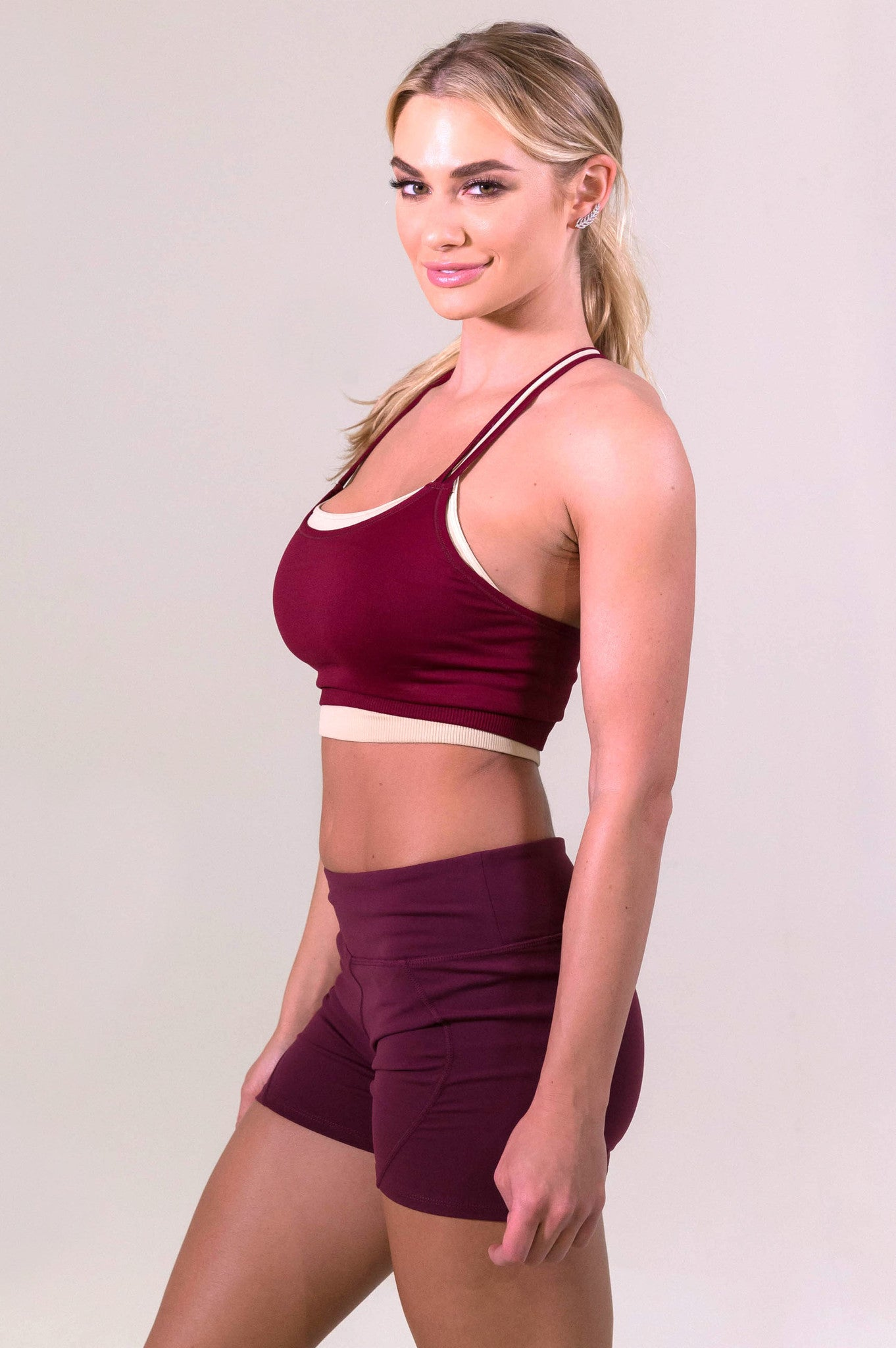 NikiBiki Maroon Yoga Training Shorts- ACTIVEWEAR-NIKIBIKI-Free Vibrationz