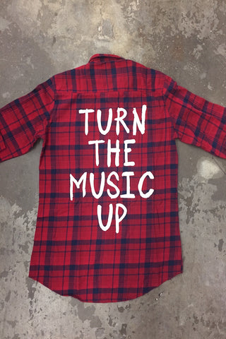 Jac Vanek Turn The Music Up Vintage Flannel - TOPS - JAC VANEK - Free Vibrationz