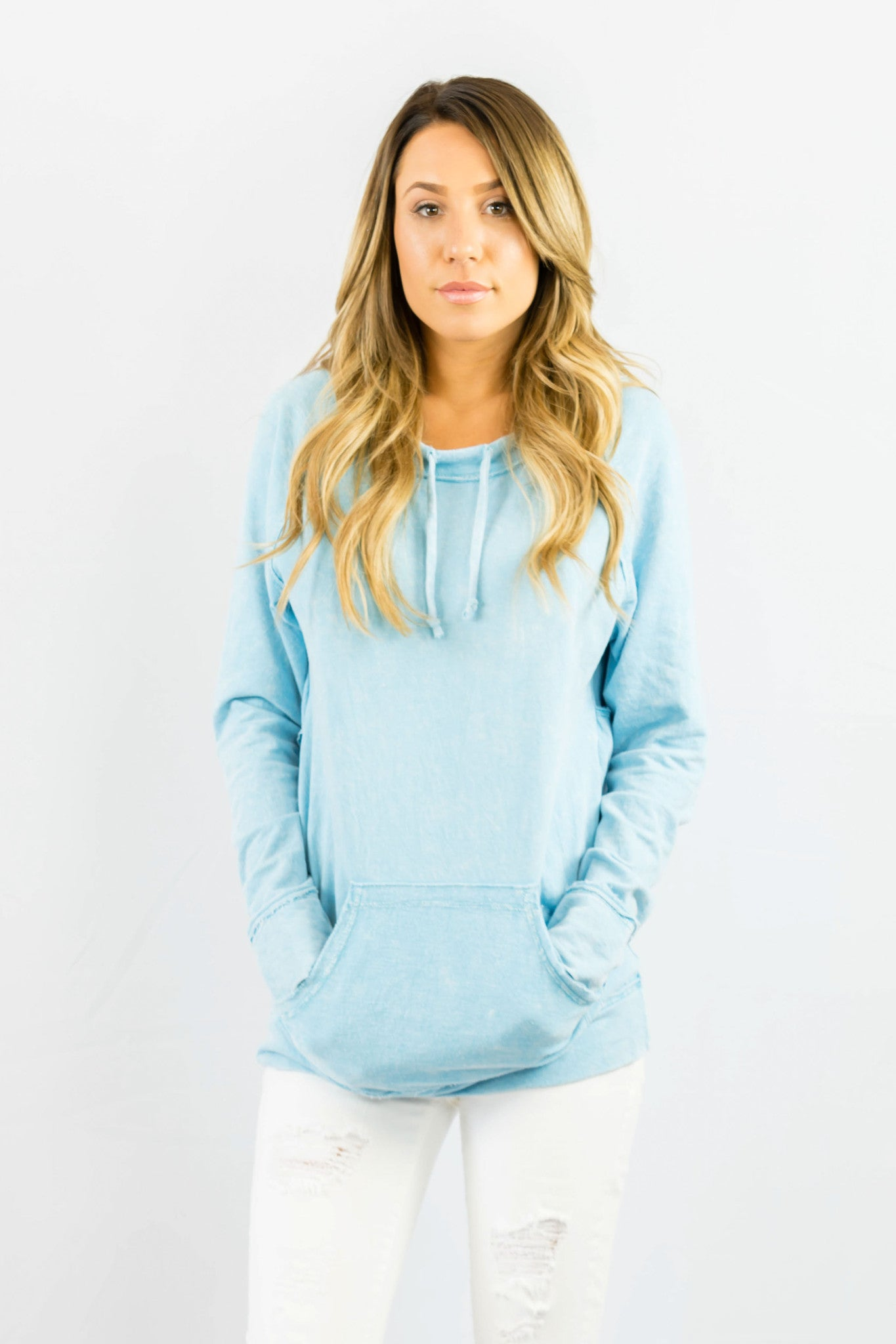 Baby Blue V Back Sweater- OUTERWEAR-ZIP CODE-Free Vibrationz