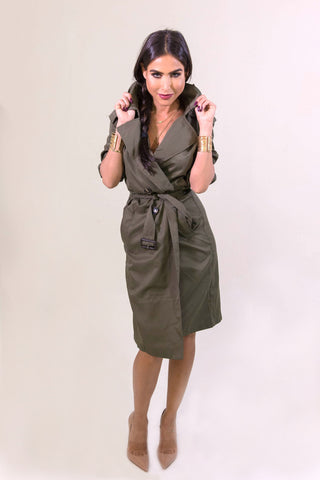 Rehab Olive Crazy Cool Trenchcoat - OUTERWEAR - REHAB - Free Vibrationz - 1