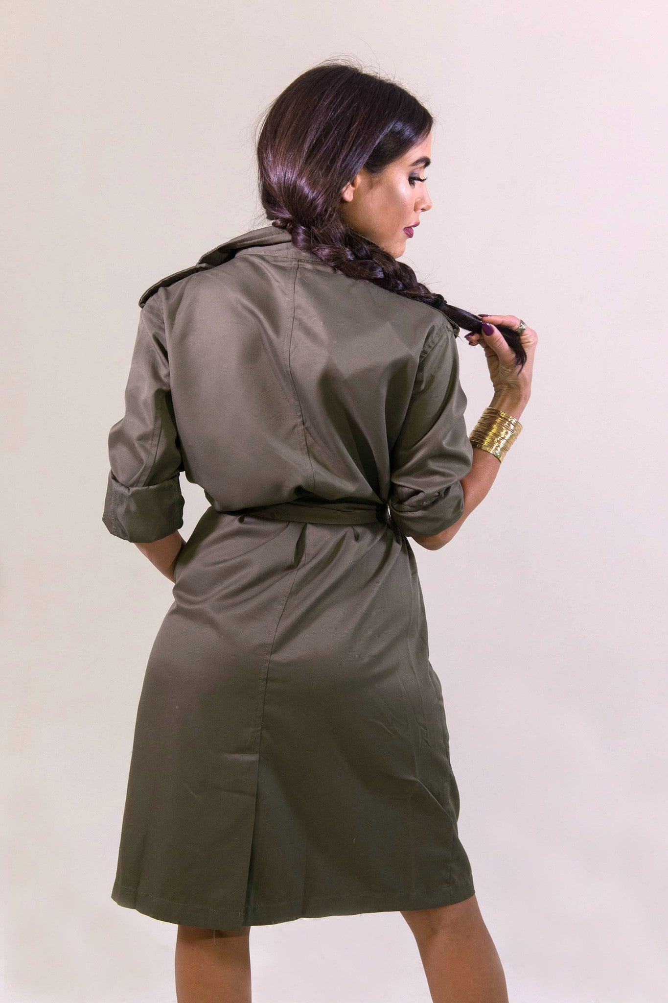 Rehab Olive Crazy Cool Trenchcoat - OUTERWEAR - REHAB - Free Vibrationz - 2