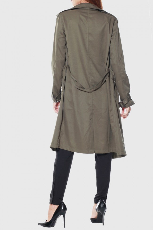Rehab Olive Crazy Cool Trenchcoat - OUTERWEAR - REHAB - Free Vibrationz - 3