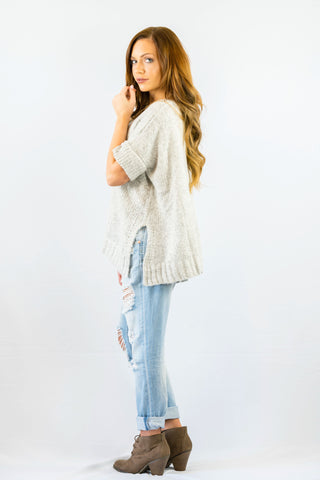 Crochet Open Shoulder Sweater Blue
