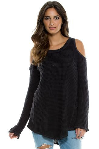 Elan Peek-A-Boo Shoulder Sweater- OUTERWEAR-ELAN-Free Vibrationz