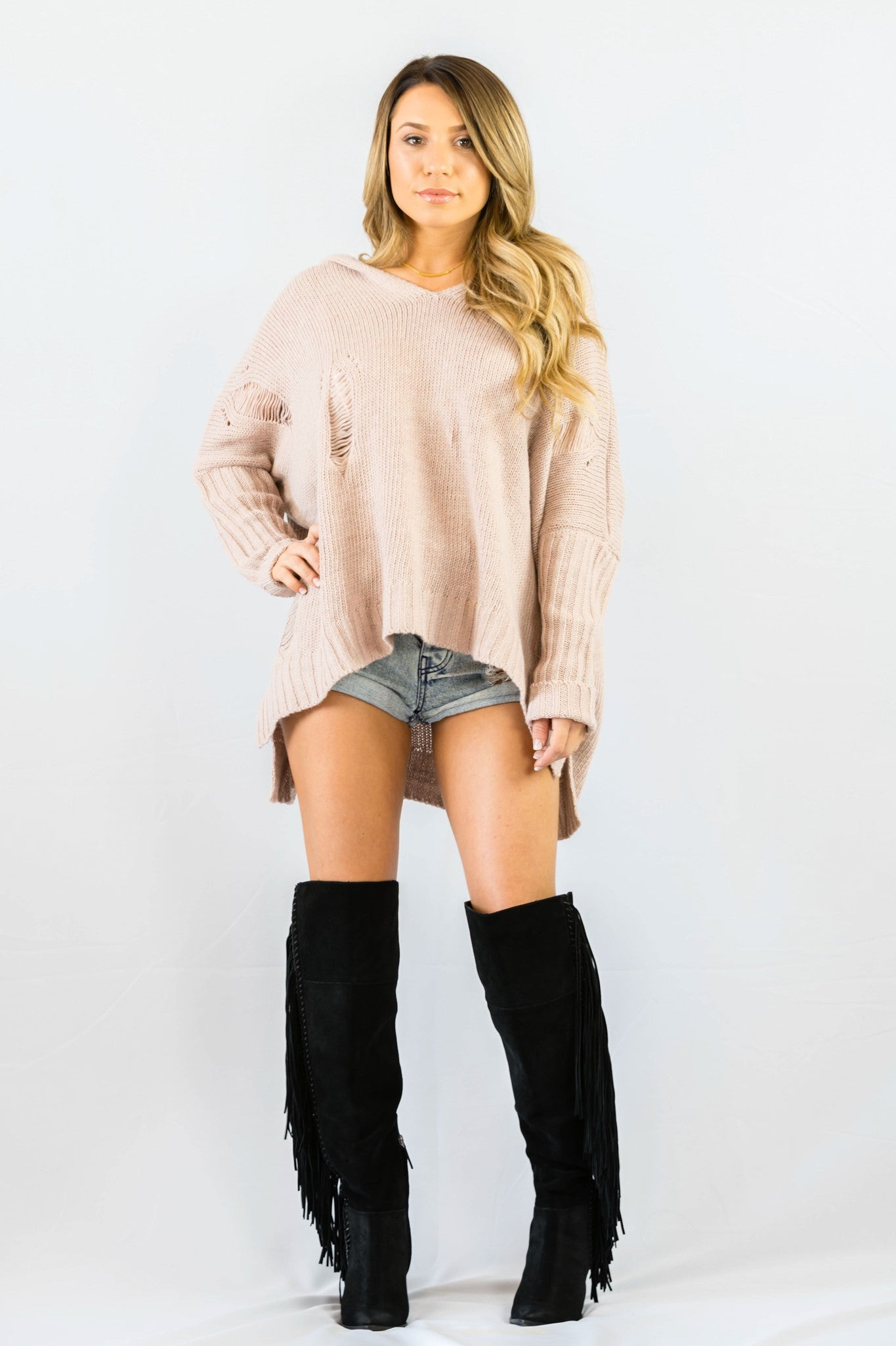 Cecico Shredded Blushing Sweater- OUTERWEAR-Cecico-Free Vibrationz