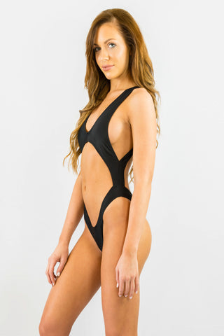 Cut Out Black One Piece- SWIMWEAR-Free Vibrationz-Free Vibrationz