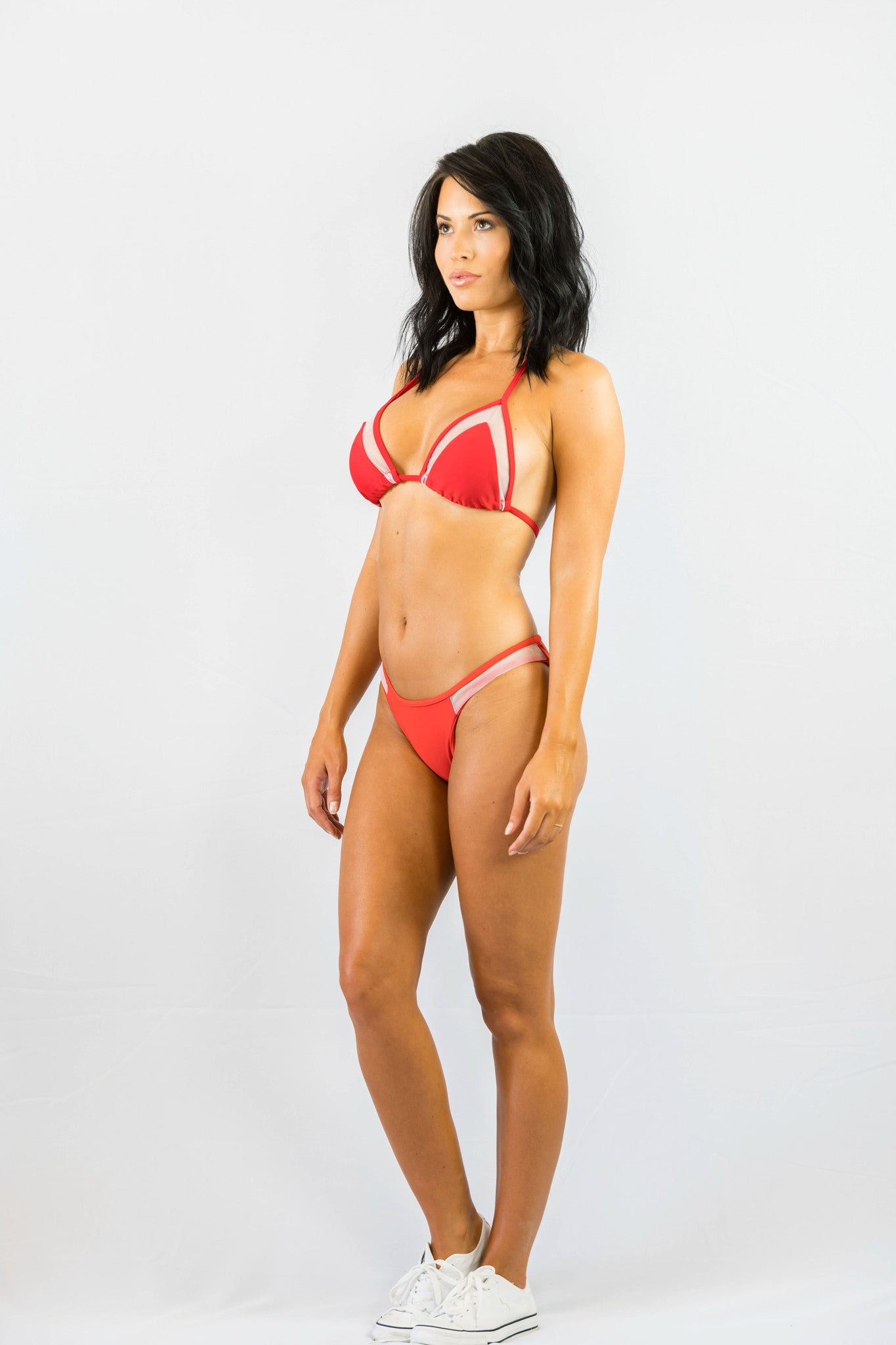 Don't Mesh With Me Bikini Set Red- SWIMWEAR-Free Vibrationz-Free Vibrationz