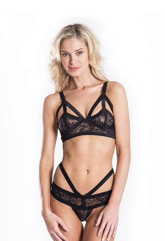 CantiqLA Triangle Cut Out Bralette Black- Intimates-Free Vibrationz-Free Vibrationz