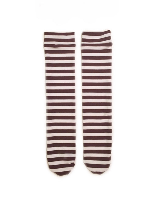 Brown and White Stripes Knee High Socks
