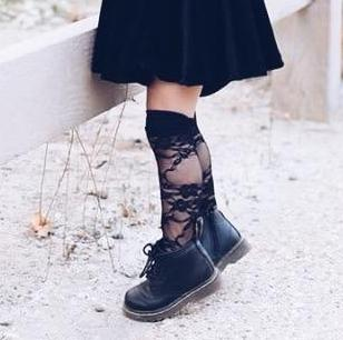 BLACK LACE Knee High Socks