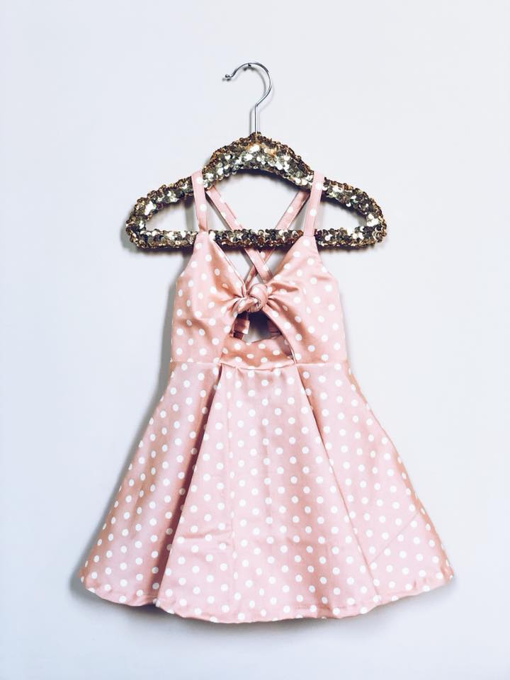 BLUSHING CREAM DOTS Knotted Shortie Dress