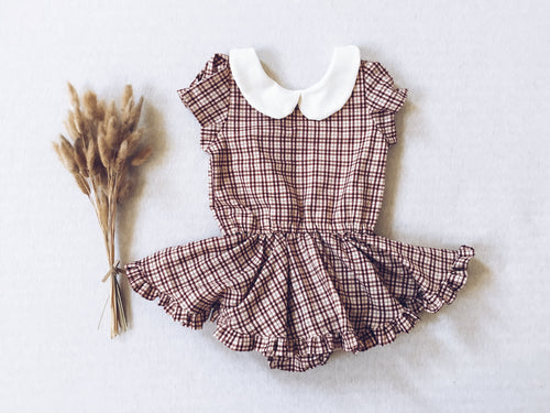 BURGUNDY & BEIGE Plaid Shortie Dress