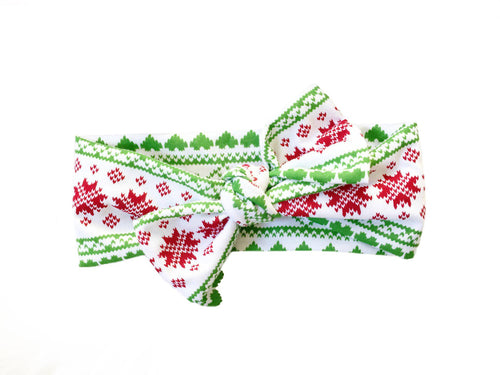 CHRISTMAS FAIR ISLE Top Knot Headwrap