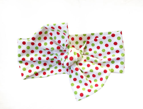 CHRISTMAS DOTS Top Knot Headwrap